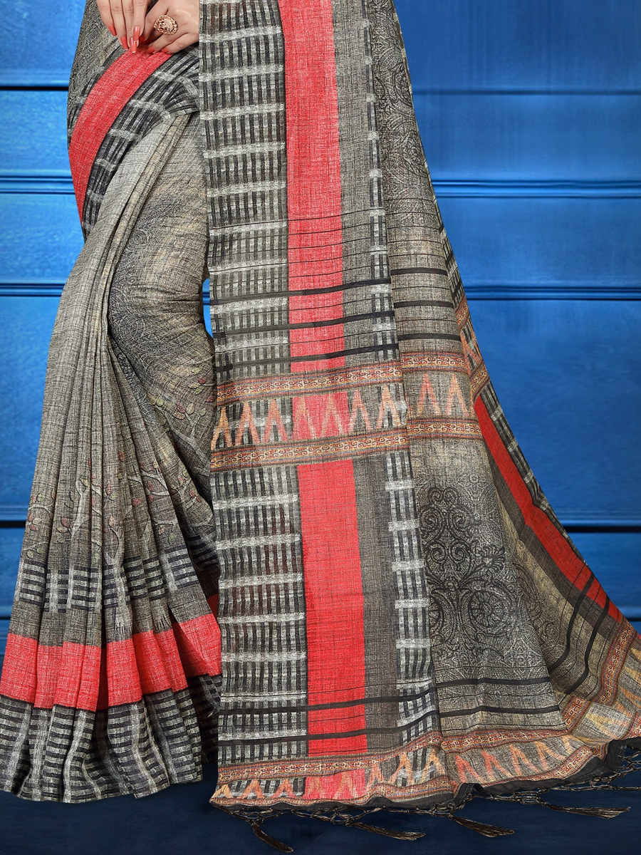 Silver Gray Art Silk Casual Printed Saree