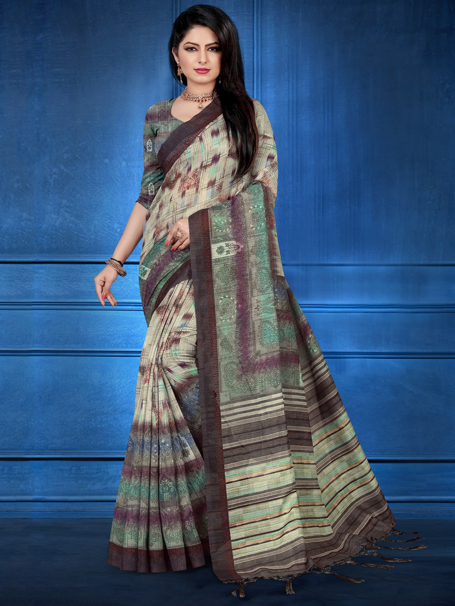Tea Green Art Silk Casual Printed Saree