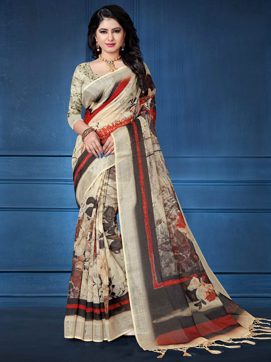 Beige Yellow Linen Casual Printed Saree