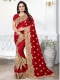Venetian Red Silk Embroidered Party Saree