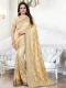 Peach-Yellow Silk Embroidered Party Saree