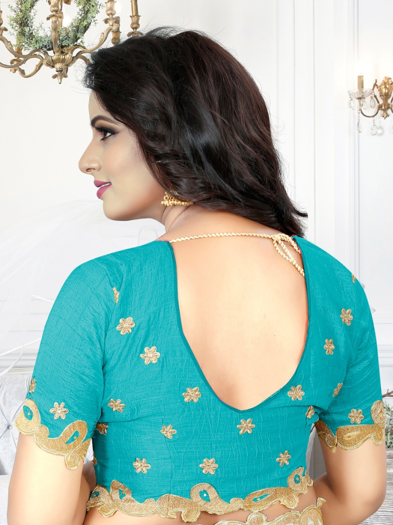 Robin-Egg Blue Silk Embroidered Party Saree