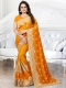 Gamboge Yellow Silk Embroidered Party Saree