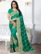 Sea Green Silk Embroidered Party Saree