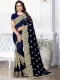 Sapphire Blue Silk Embroidered Party Saree
