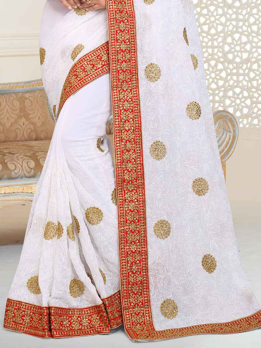 Off White Faux Georgette Embroidered Party Saree