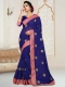 Dark Blue Faux Georgette Embroidered Party Saree