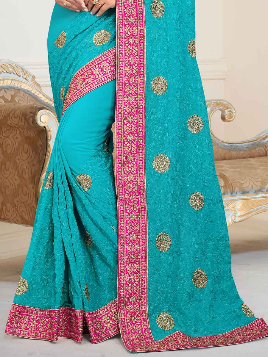 Turquoise Blue Faux Georgette Embroidered Party Saree