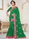 Deep Lime Green Faux Georgette Embroidered Party Saree