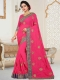Fuchsia Pink Faux Georgette Embroidered Party Saree