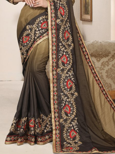 Beige Brown And Black Silk Embroidered Party Saree