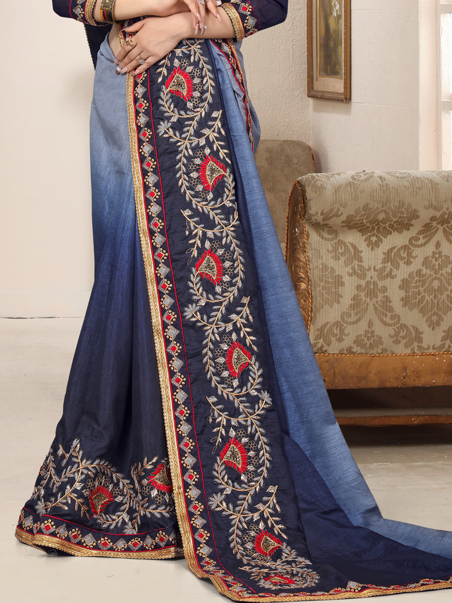 Midnight Blue Silk Embroidered Party Saree