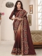 Cordovan Brown Silk Embroidered Party Saree