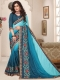 Bondi Blue Silk Embroidered Party Saree
