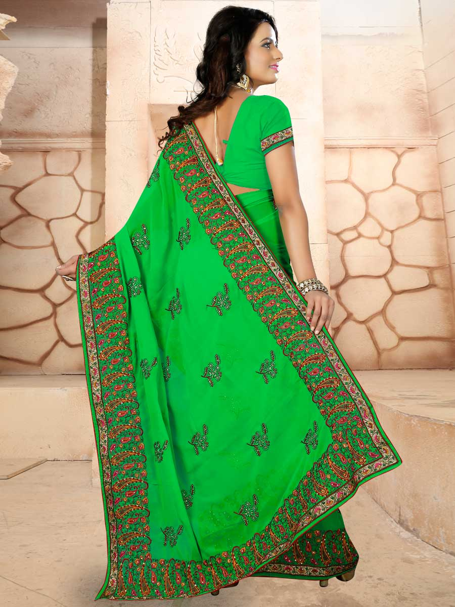 Lime Green Faux Georgette Embroidered Party Saree