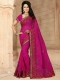Red Violet Faux Georgette Embroidered Party Saree