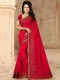 Crimson Red Faux Georgette Embroidered Party Saree