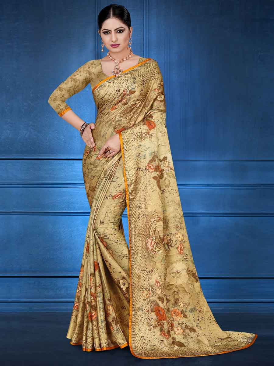 Metallic Gold Yellow Satin Georgette Casual printed Saree