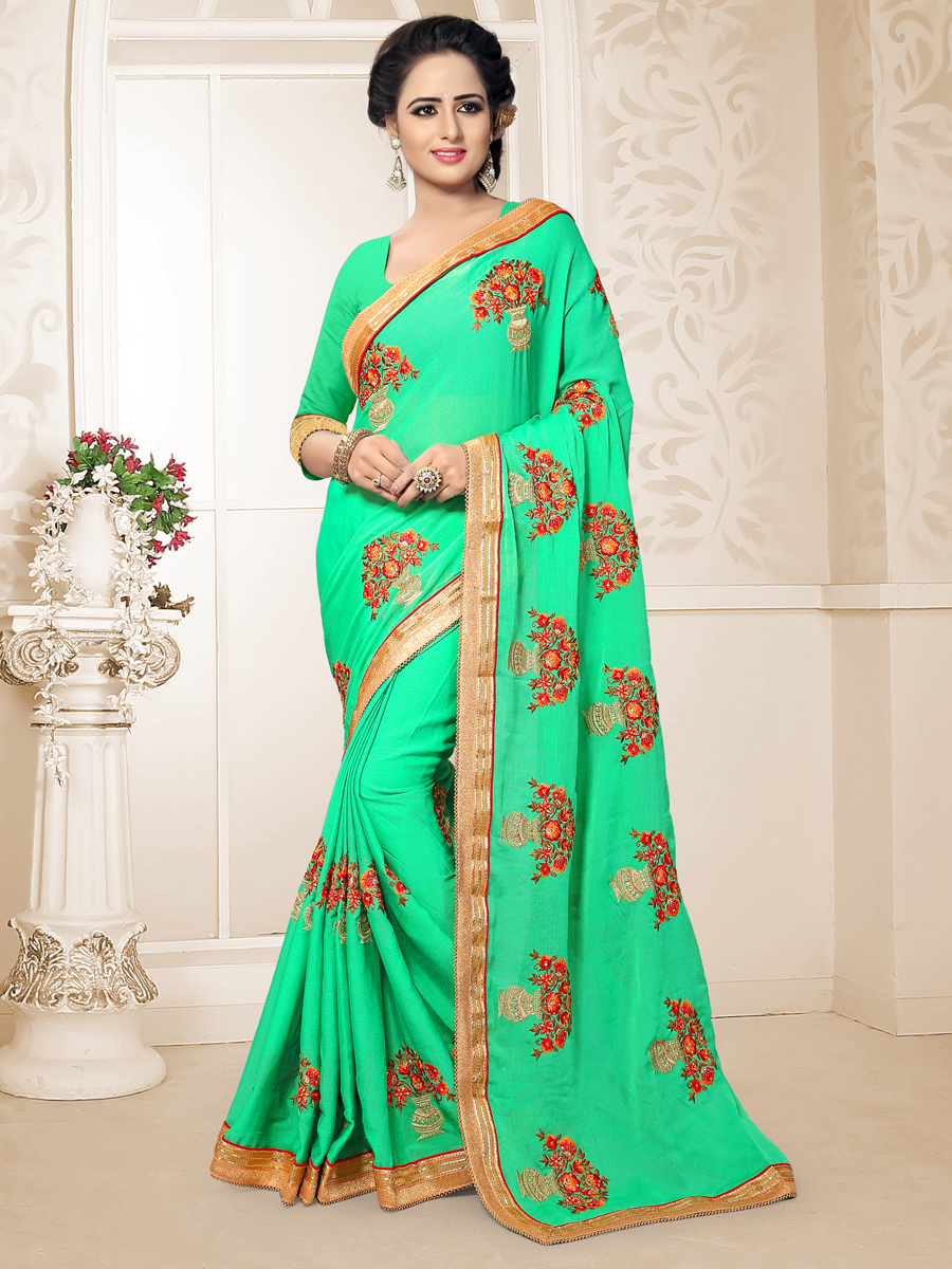 Spring Green Chiffon Embrodered Party Saree