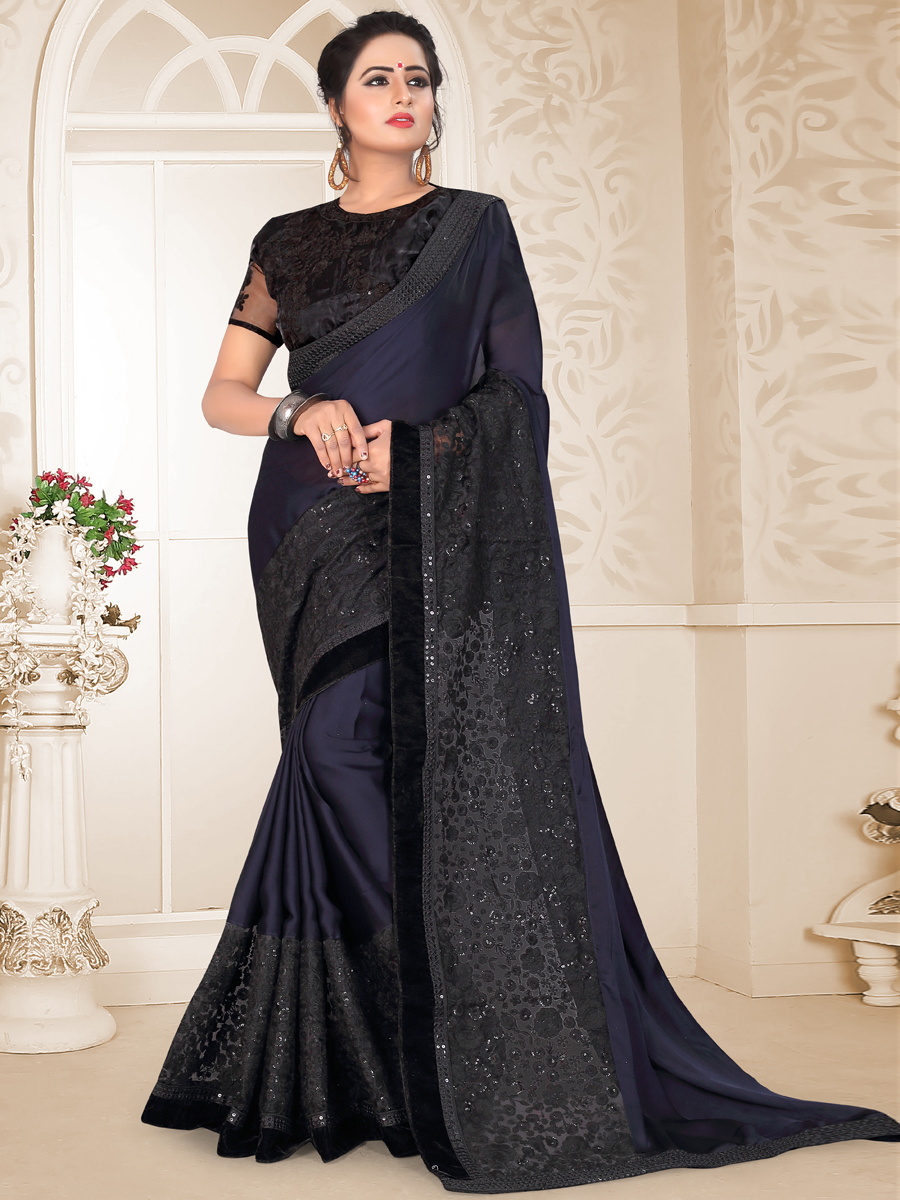 Sapphire Blue Satin Georgette Embroidered Party Saree