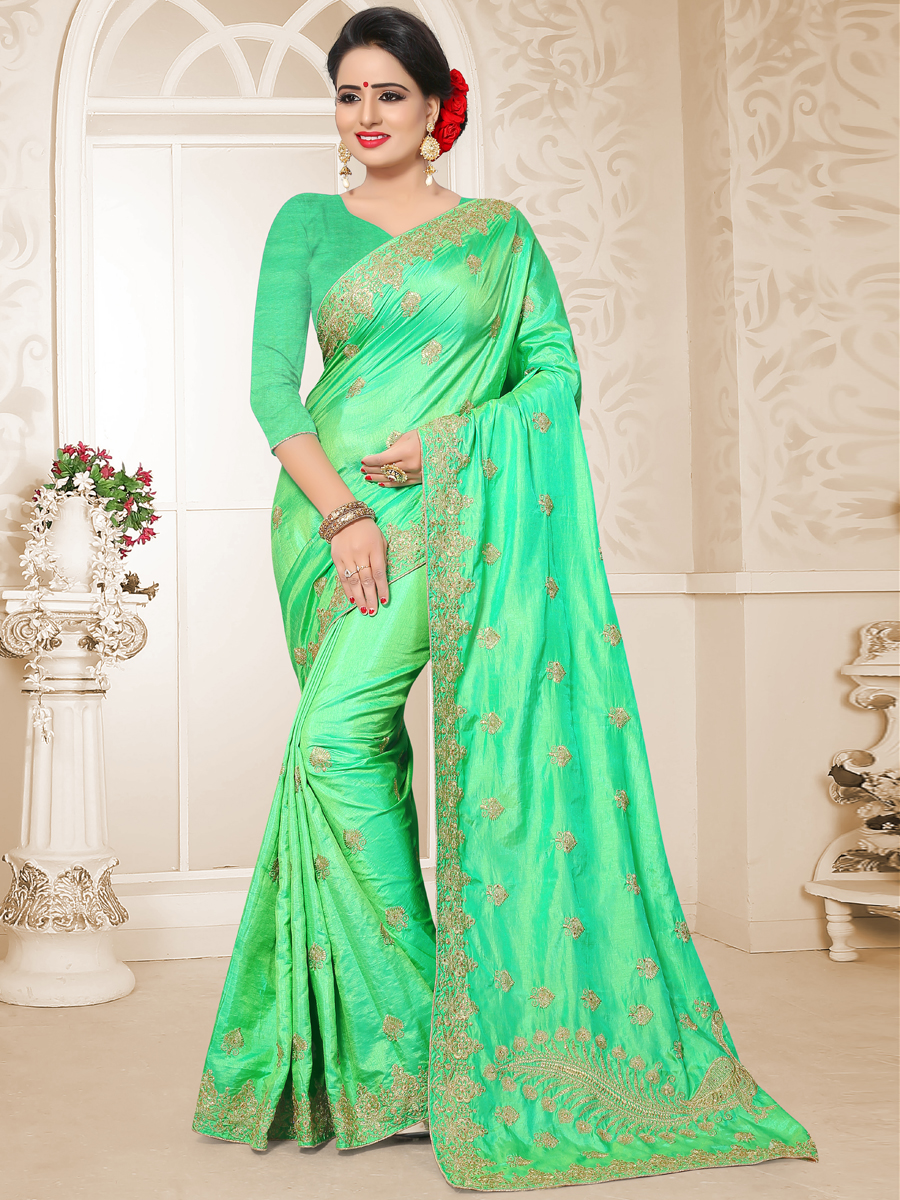Spring Green Rajwadi Silk Embroidered Party Saree