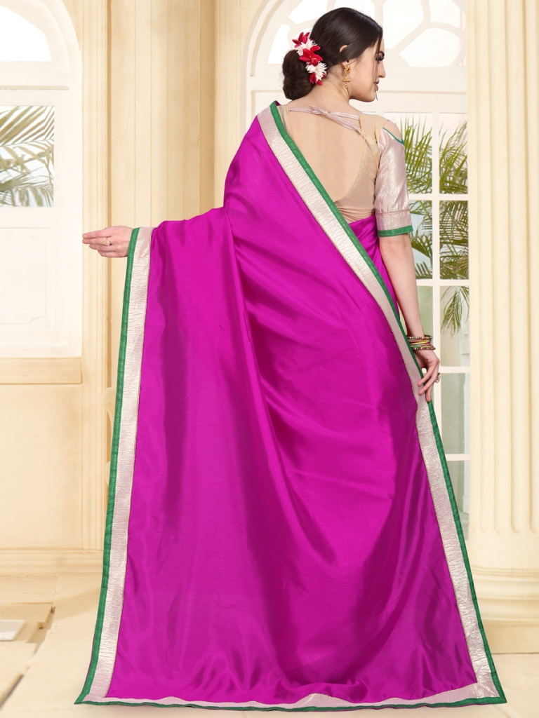 Deep Fuchsia Pink Art Silk Festival Plain Saree