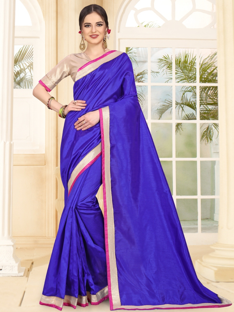 Royal Blue Art Silk Festival Plain Saree