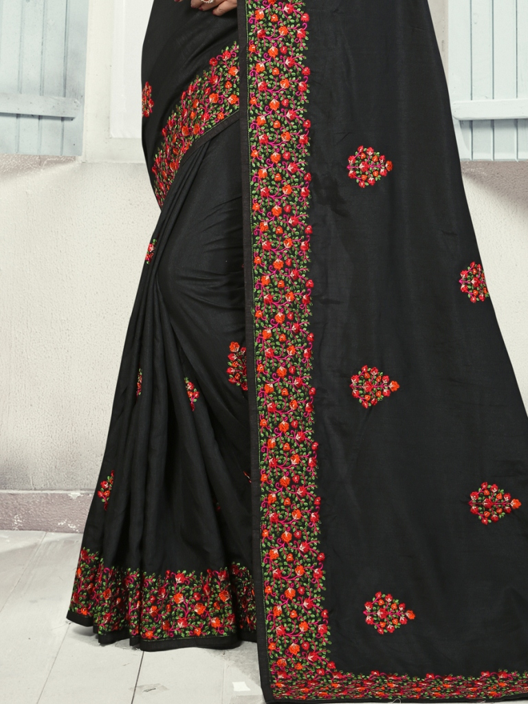Black Silk Embroidered Party Saree