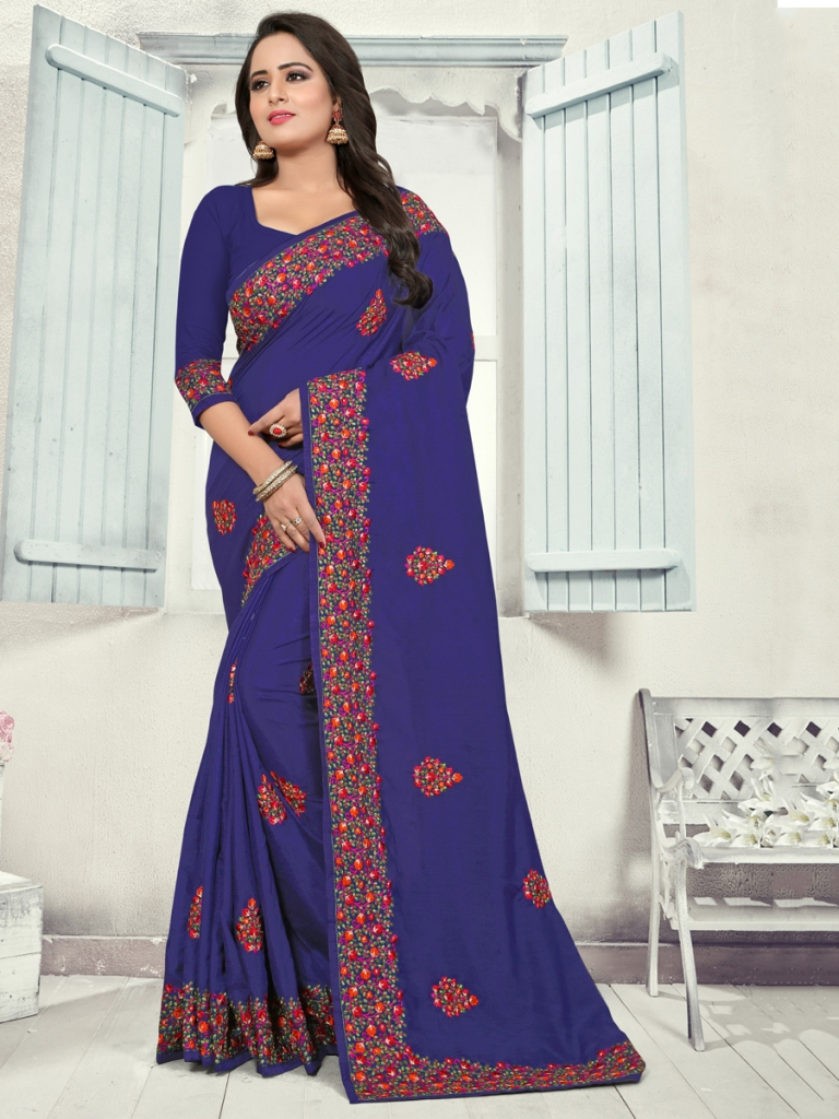 Duke Blue Silk Embroidered Party Saree