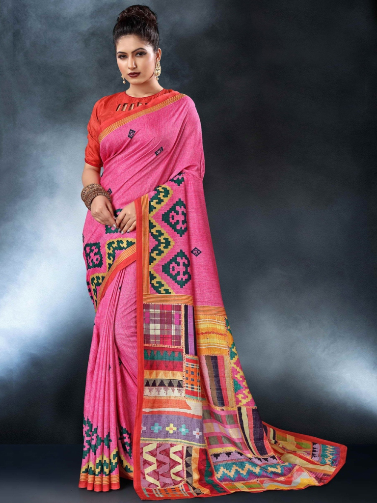 Rose Pink Tussar Silk Casual Printed Saree