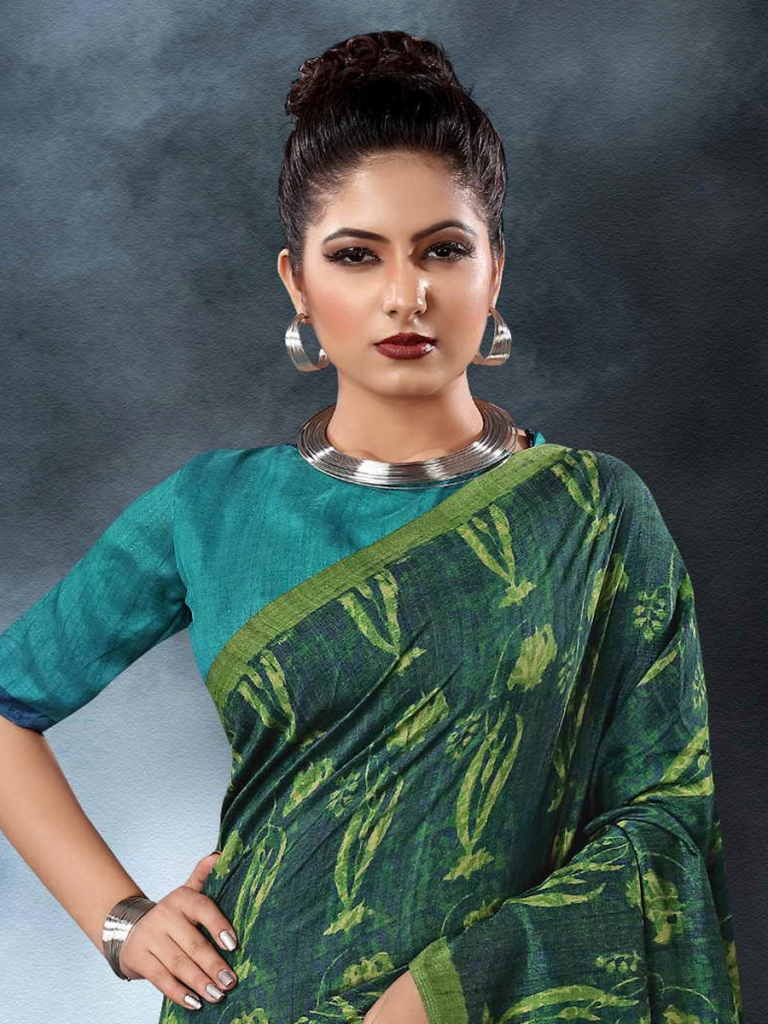 Pine Green Tussar Silk Casual Printed Saree