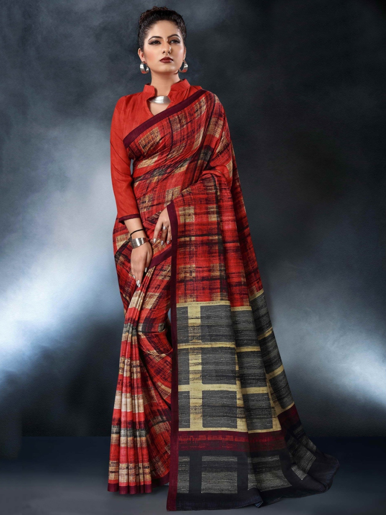 Crimson Red Tussar Silk Casual Printed Saree