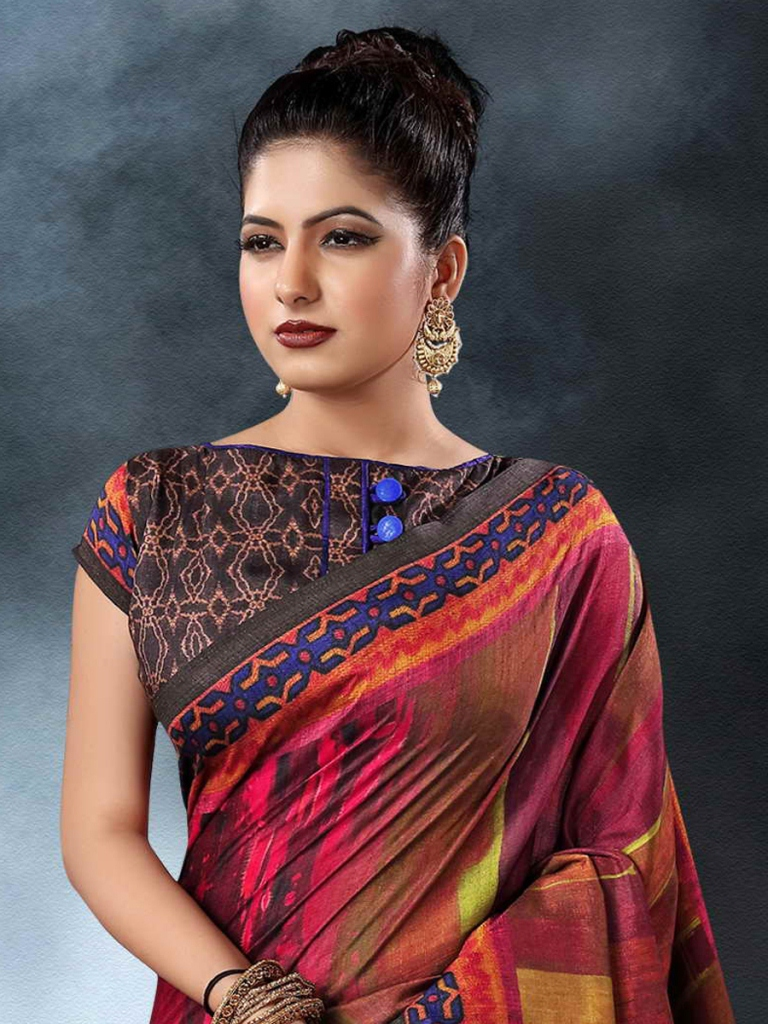 Ruby Red Tussar Silk Casual Printed Saree