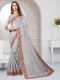 Silver Gray Cotton Silk Embroidered Party Saree