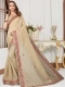 Cream Yellow Cotton Silk Embroidered Party Saree