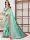 Aqua Blue Cotton Silk Embroidered Party Saree