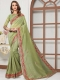 Asparagus Green Cotton Silk Embroidered Party Saree