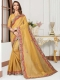 Mustard Yellow Cotton Silk Embroidered Party Saree