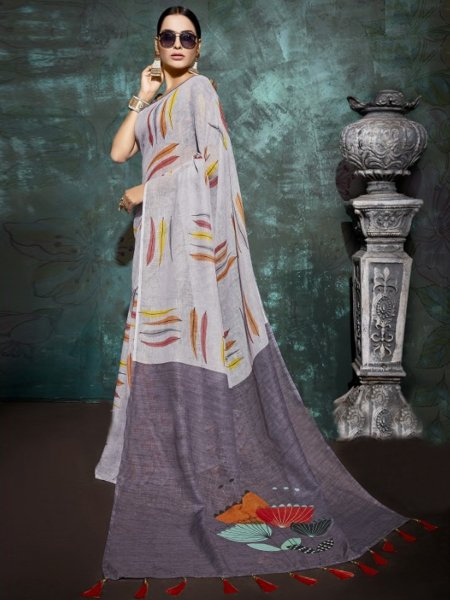 Alice Blue Linen Casual Printed Saree