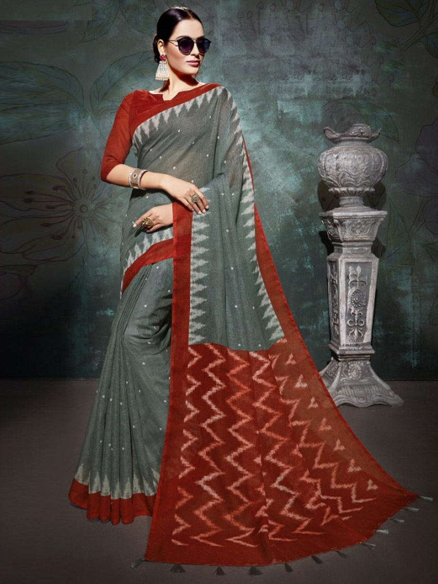 Gray Asparagus Green And Maroon Linen Casual Printed Saree