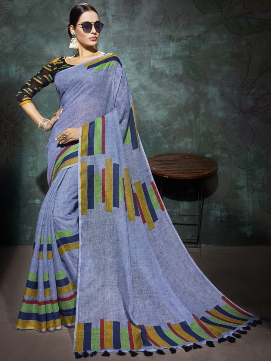 Carolina Blue Linen Casual Printed Saree