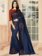 Navy Blue Vichitra Silk Plain Party Saree