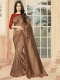 Sepia Brown Vichitra Silk Plain Party Saree