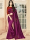 Wine Red Vichitra Silk Plain Party Saree