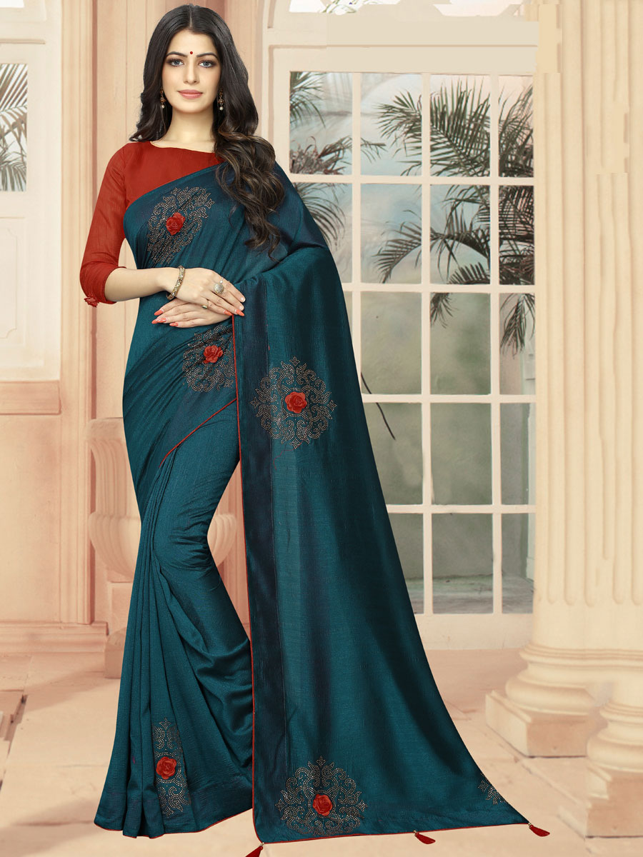 Midnight Green Vichitra Silk Plain Party Saree