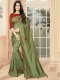 Asparagus Green Vichitra Silk Plain Party Saree