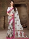 Silver Gray Silk Embroidered Party Saree