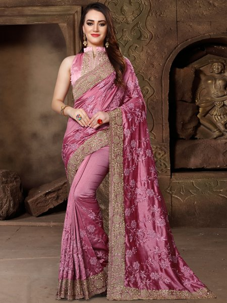 Fuchsia Pink Silk Embroidered Party Saree