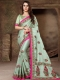 Tea Green Silk Embroidered Party Saree