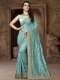 Aqua Blue Silk Embroidered Party Saree